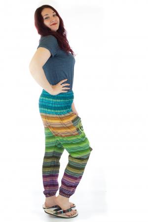 Pantaloni multicolori cu talie inalta din bumbac unicati - M181