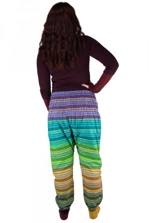 Pantaloni multicolori cu talie inalta din bumbac unicati - M183