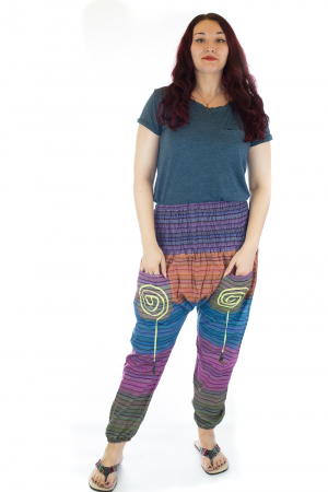 Pantaloni multicolori cu talie inalta din bumbac unicati - M190