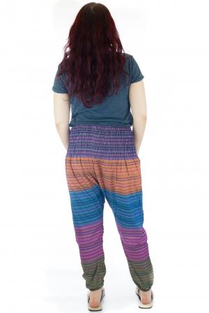 Pantaloni multicolori cu talie inalta din bumbac unicati - M192