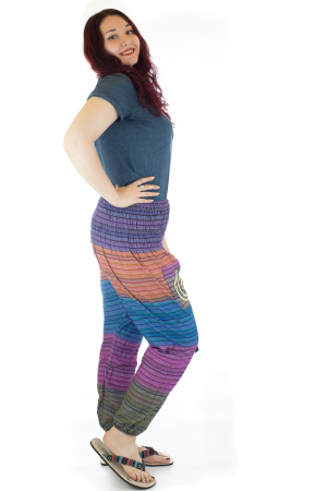 Pantaloni multicolori cu talie inalta din bumbac unicati - M191