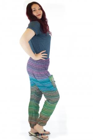 Pantaloni multicolori cu talie inalta din bumbac unicati - M241