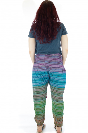 Pantaloni multicolori cu talie inalta din bumbac unicati - M242