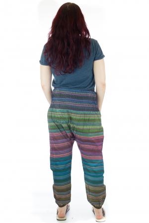Pantaloni multicolori cu talie inalta din bumbac unicati - M32