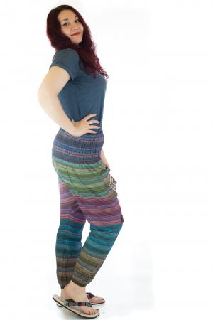 Pantaloni multicolori cu talie inalta din bumbac unicati - M31