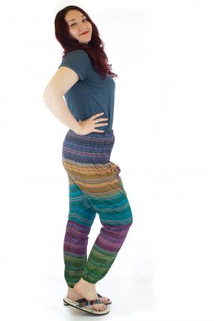 Pantaloni multicolori cu talie inalta din bumbac unicati - M41
