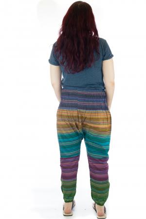 Pantaloni multicolori cu talie inalta din bumbac unicati - M42