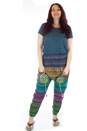 Pantaloni multicolori cu talie inalta din bumbac unicati - M40