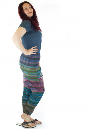 Pantaloni multicolori cu talie inalta din bumbac unicati - M51