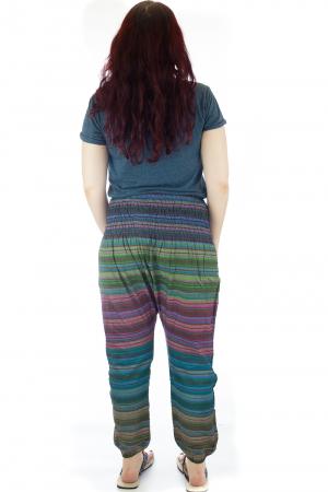 Pantaloni multicolori cu talie inalta din bumbac unicati - M52