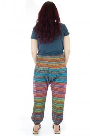 Pantaloni multicolori cu talie inalta din bumbac unicati - M82