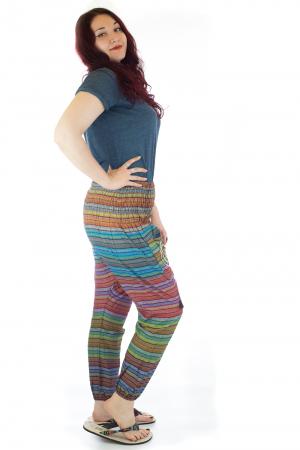 Pantaloni multicolori cu talie inalta din bumbac unicati - M81