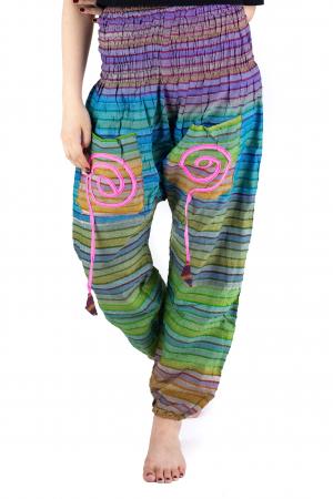 Pantaloni multicolori cu talie inalta din bumbac - Unicati - Model 9 - CT22 [0]
