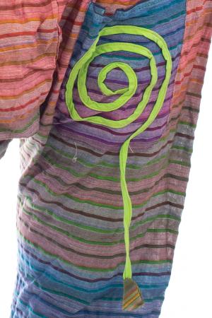 Pantaloni multicolori cu talie inalta din bumbac unicati - Spirala model 32