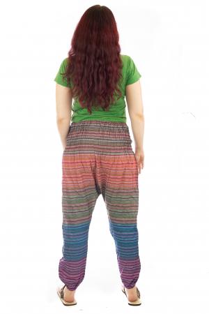 Pantaloni multicolori cu talie inalta din bumbac unicati - Spirala model 34