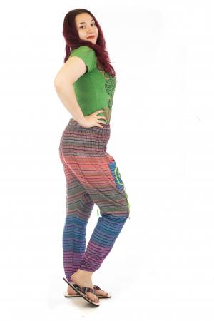 Pantaloni multicolori cu talie inalta din bumbac unicati - Spirala model 33