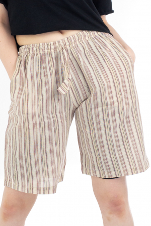 Pantaloni scurti in dungi - Crem [0]