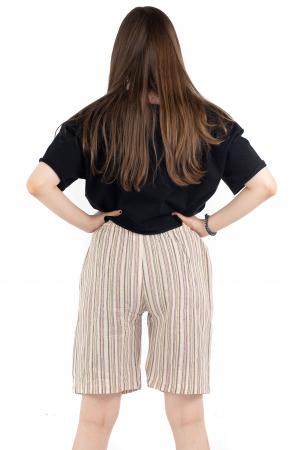 Pantaloni scurti in dungi - Crem [3]
