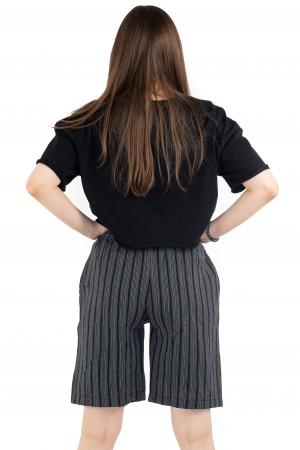 Pantaloni scurti in dungi - Negru [3]