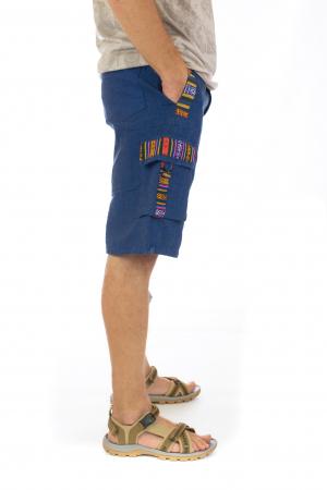 Pantaloni scurti de barbati model etno - Albastru [1]