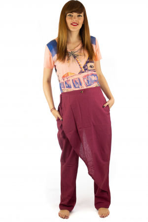 Pantaloni tip fusta din bumbac - Visiniu SH-921