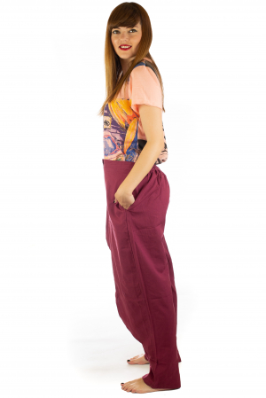 Pantaloni tip fusta din bumbac - Visiniu SH-923