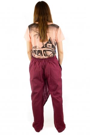 Pantaloni tip fusta din bumbac - Visiniu SH-927