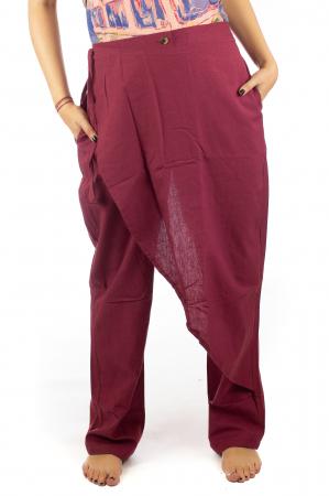 Pantaloni tip fusta din bumbac - Visiniu SH-920