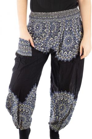 Pantaloni tip salvar femei mandala negru - Jazmin1