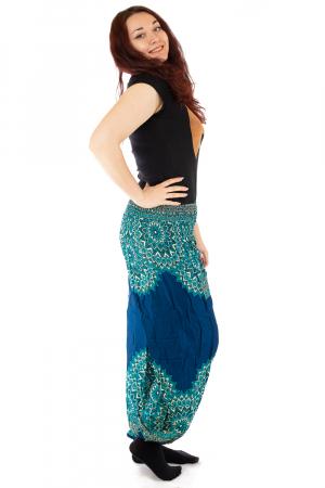 Pantaloni tip salvar femei mandala turcoaz - Jazmin1