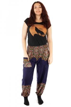Pantaloni tip salvar femei mandala orientala bleumarin - Jazmin0