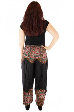 Pantaloni tip salvar femei mandala orientala negri - Jazmin2