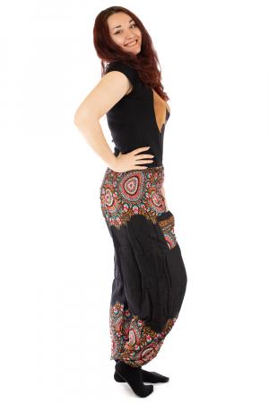 Pantaloni tip salvar femei mandala orientala negri - Jazmin1