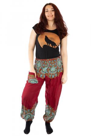 Pantaloni tip salvar femei mandala orientala rosu - Jazmin0