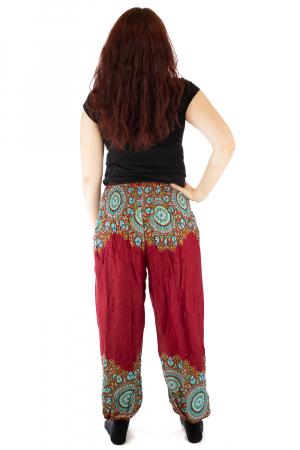 Pantaloni tip salvar femei mandala orientala rosu - Jazmin2