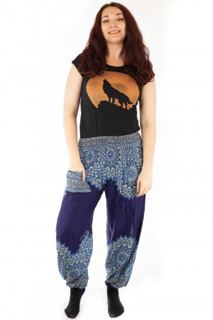 Pantaloni tip salvar femei mandala bleumarin - Jazmin0