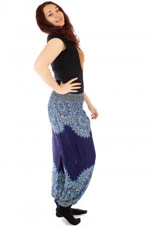 Pantaloni tip salvar femei mandala bleumarin - Jazmin1