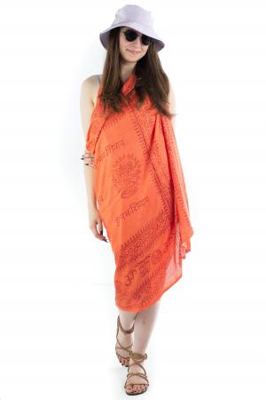 Pareo pentru plaja - portocaliu cu print rosu [4]