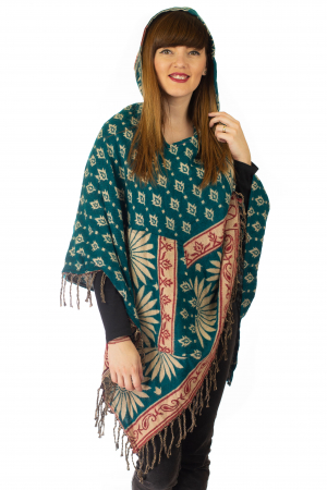 Poncho multicolor din lana - Model 80
