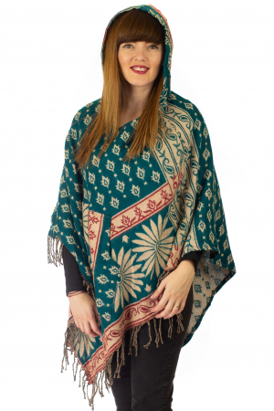 Poncho multicolor din lana - Model 83