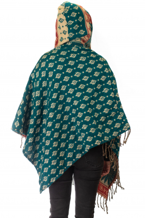 Poncho multicolor din lana - Model 85