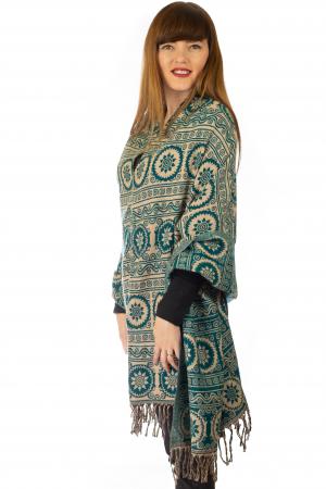 Poncho multicolor din lana - Model 102
