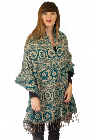 Poncho multicolor din lana - Model 100