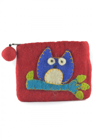 Portofel Verde din feltru - Owl [0]