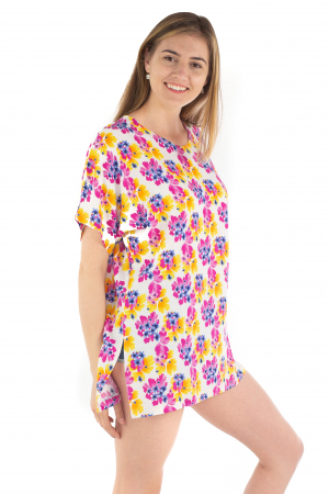 Poncho din Rayon - Painted Flowers [2]