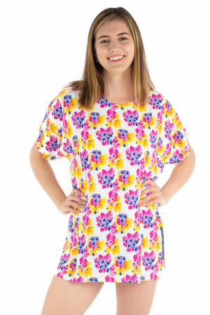Poncho din Rayon - Painted Flowers [4]