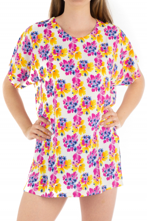 Poncho din Rayon - Painted Flowers [0]
