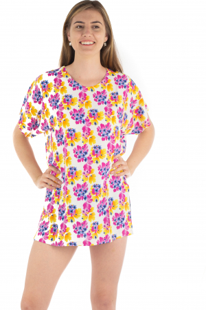 Poncho din Rayon - Painted Flowers [1]