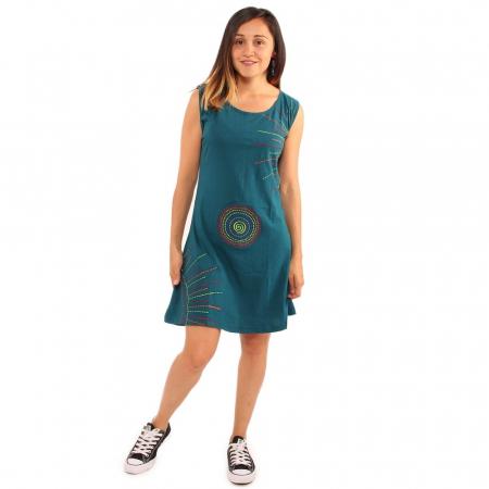 Rochie albastra din bumbac cu detalii rainbow0
