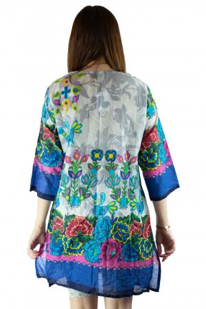 Rochie din bumbac cu imprimeu - Floral - Maneca Lunga [3]